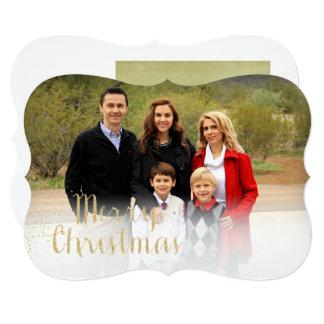 Cartões de foto de Natal da folha de ouro do falso