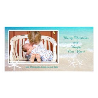 Cartões de foto de Natal da praia do oceano de