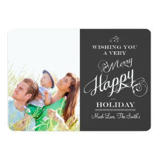 Cartões de foto de Natal da tipografia do quadro Convite 12.7 X 17.78cm