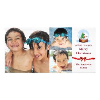 Cartões de foto de Natal das fotos do globo 3 da Cartão Com Foto