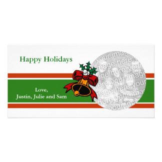 Cartões de foto de Natal de Bell do visco Cartão Com Foto
