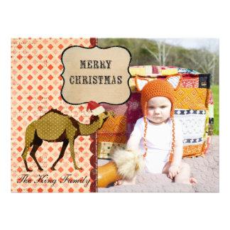 Cartões de foto de Natal de bronze retros do camel Convite