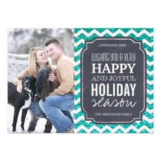 Cartões de foto de Natal de Chevron e de brilho