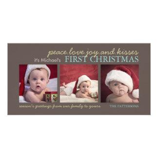 Cartões de foto de Natal do bebê da alegria do amo Cartão Com Foto
