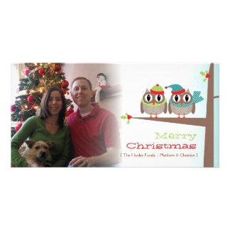 Cartões de foto de Natal do casal da coruja Cartão Com Foto