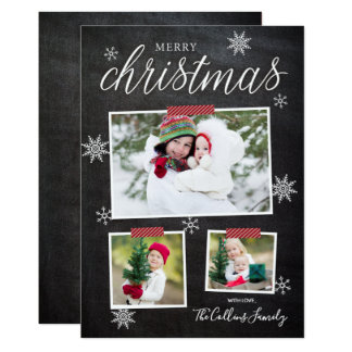 Cartões de foto de Natal do divertimento do floco