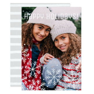 Cartões de foto de Natal do floco de neve da Convite 12.7 X 17.78cm