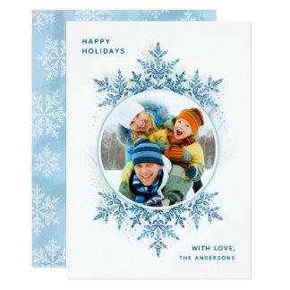 Cartões de foto de Natal do floco de neve do