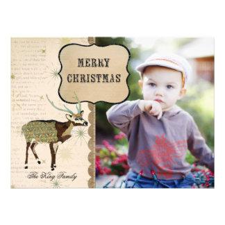 Cartões de foto de Natal do floco de neve do fanfa Convite