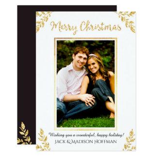 Cartões de foto de Natal do Natal da folha de ouro