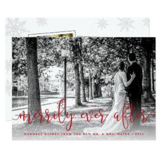 Cartões de foto de Natal do Newlywed com obrigado