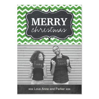 Cartões de foto de Natal do quadro do brilho de Convite 11.30 X 15.87cm
