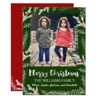 Cartões de foto de Natal dos ramos da baga do