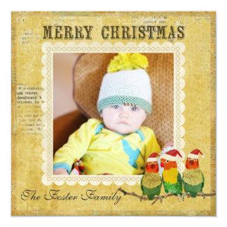 Cartões de foto de Natal dourados de Canaries Convite Personalizado