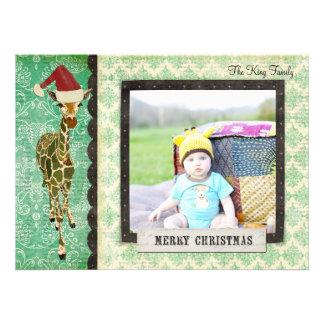 Cartões de foto de Natal dourados do girafa do jad Convites