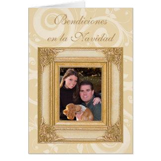 Cartões de foto de Natal espanhóis do verso da