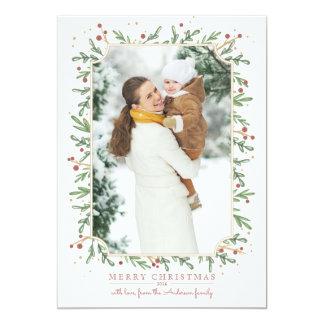 Cartões de foto de Natal festivos da folha