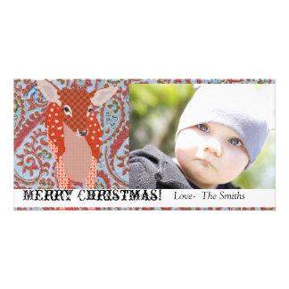 Cartões de foto de Natal festivos da jovem corça I Cartão Com Foto Personalizado