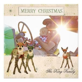 Cartões de foto de Natal florais das jovens corças Convite