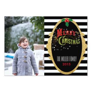 Cartões de foto de Natal listrados do brilho Convite 12.7 X 17.78cm