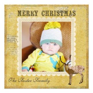 Cartões de foto de Natal ornamentado dourados do f Convites
