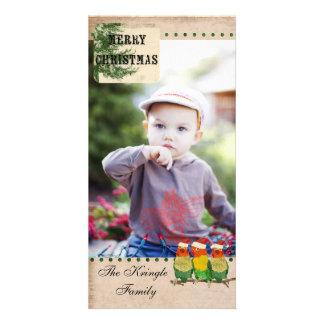 Cartões de foto de Natal pequenos de três pássaros Cartão Com Fotos