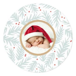 Cartões de foto de Natal pintados à mão do pinho Convite Quadrado 13.35 X 13.35cm