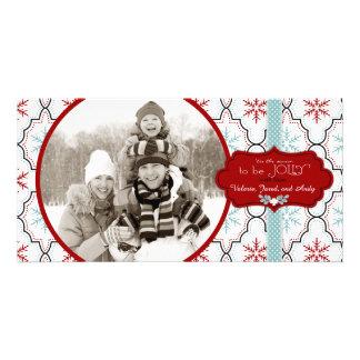 Cartões de foto de Natal retros dos flocos de neve Cartão Com Foto