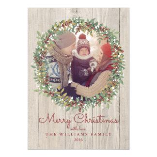 Cartões de foto de Natal rústicos da grinalda