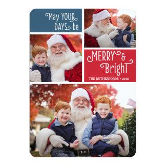 Cartões de foto de Natal simples da colagem Convite 12.7 X 17.78cm