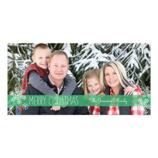 Cartões de foto de Natal verdes completos