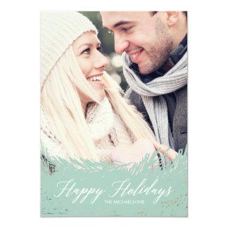 Cartões de foto de Natal verdes de Frost Convite 12.7 X 17.78cm