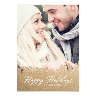 Cartões de foto de Natal verdes do ouro de Frost Convite 12.7 X 17.78cm