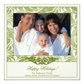Cartões de foto de Natal verdes elegantes do Convite Quadrado 13.35 X 13.35cm