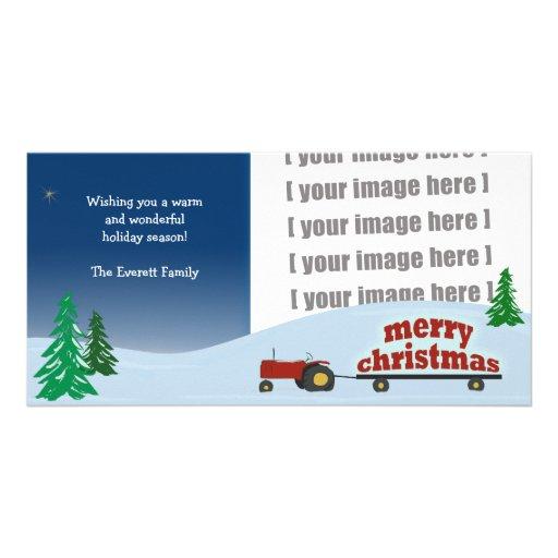 Cartões de foto de Natal vermelhos do trator Cartao Com Foto