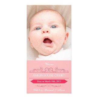 Cartões de fotos cor-de-rosa do anúncio do cartao com fotos