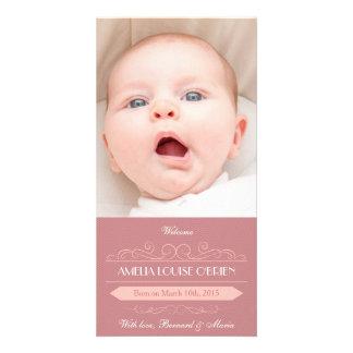 Cartões de fotos cor-de-rosa do anúncio do cartões com fotos personalizados