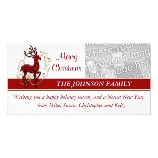 Cartões de fotos da família do negócio da rena cartao com fotos personalizado