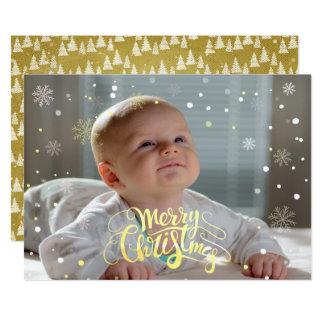 Cartões de fotos de queda do Natal da neve do ouro