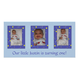 Cartões de fotos do aniversário do bebé cartão com foto