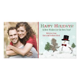 Cartões de fotos do feriado do boneco de neve da f cartao com fotos personalizado