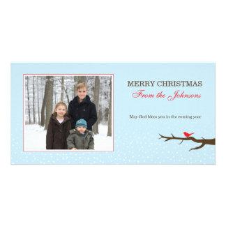 Cartões de fotos do Natal do pássaro da neve Cartões Com Foto Personalizados