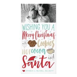 Cartões de fotos do Natal - papai noel, biscoitos,