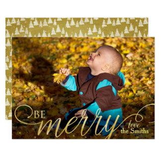 Cartões de fotos dourados escritos do Natal mão