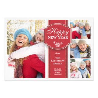 Cartões de fotos elegantes vermelhos & do branco 4 convites personalizado