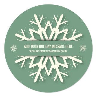 Cartões de fotos redondos verdes do Natal do floco Convite Quadrado 13.35 X 13.35cm