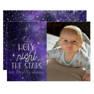 Cartões de fotos santamente do Natal da noite