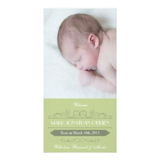 Cartões de fotos verdes do anúncio do nascimento cartões com fotos personalizados