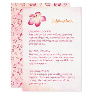 Cartões de informação do casamento do Plumeria do