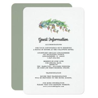 Cartões de informação do convidado do casamento |